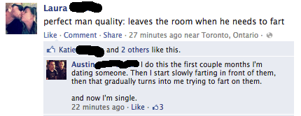 funniest facebook posts 2012 relationship fart The Funniest Facebook Posts Of 2012