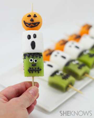 Frightful Halloween fruit kebabs