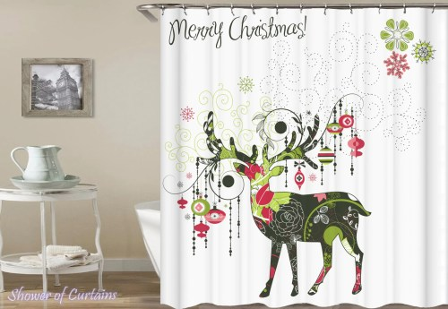 Medium Of Christmas Shower Curtains