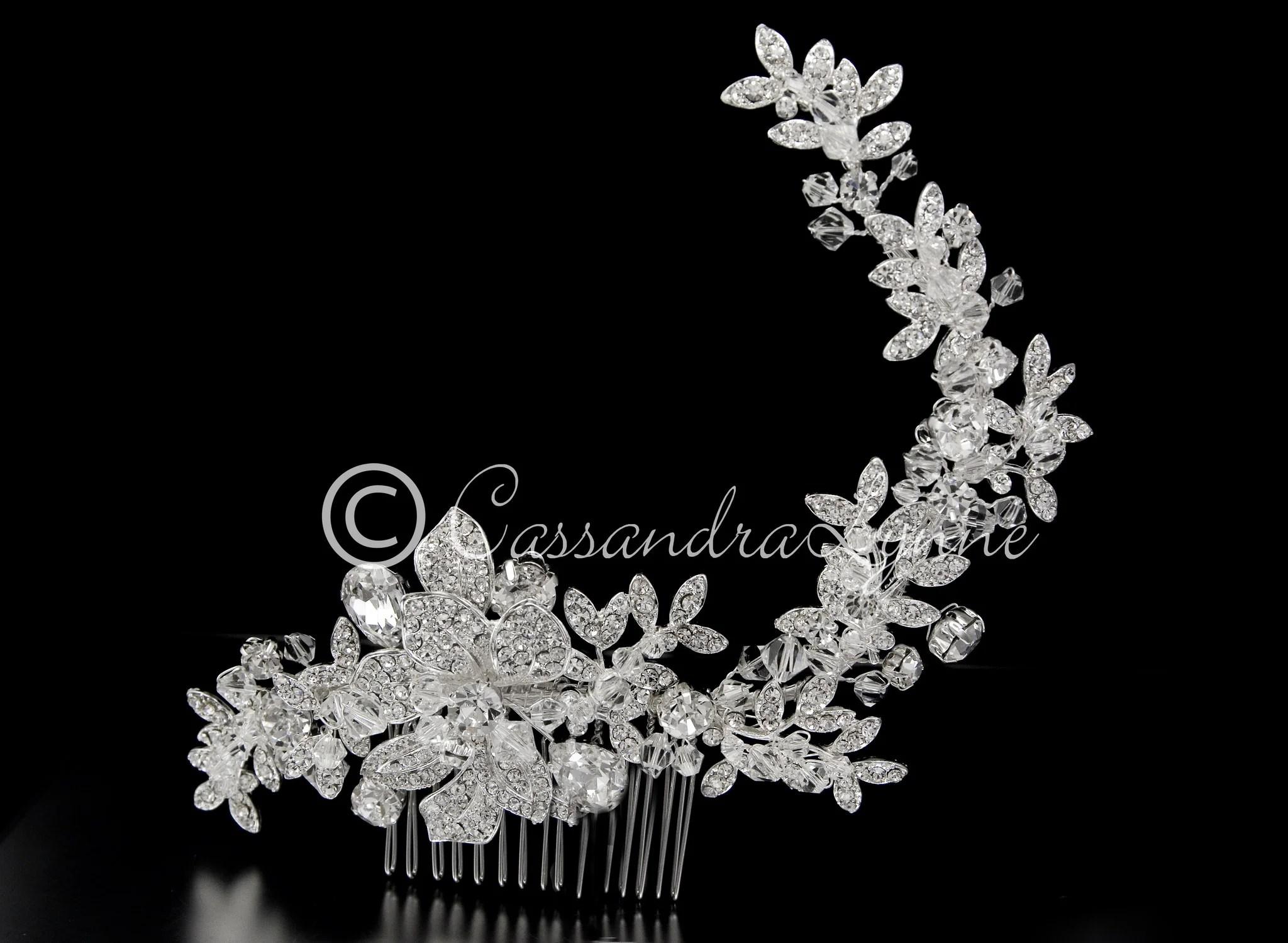 crystal bridal hair comb in a rhinestone vine design wedding hair combs Crystal Bridal Hair Comb in a Rhinestone Vine Design