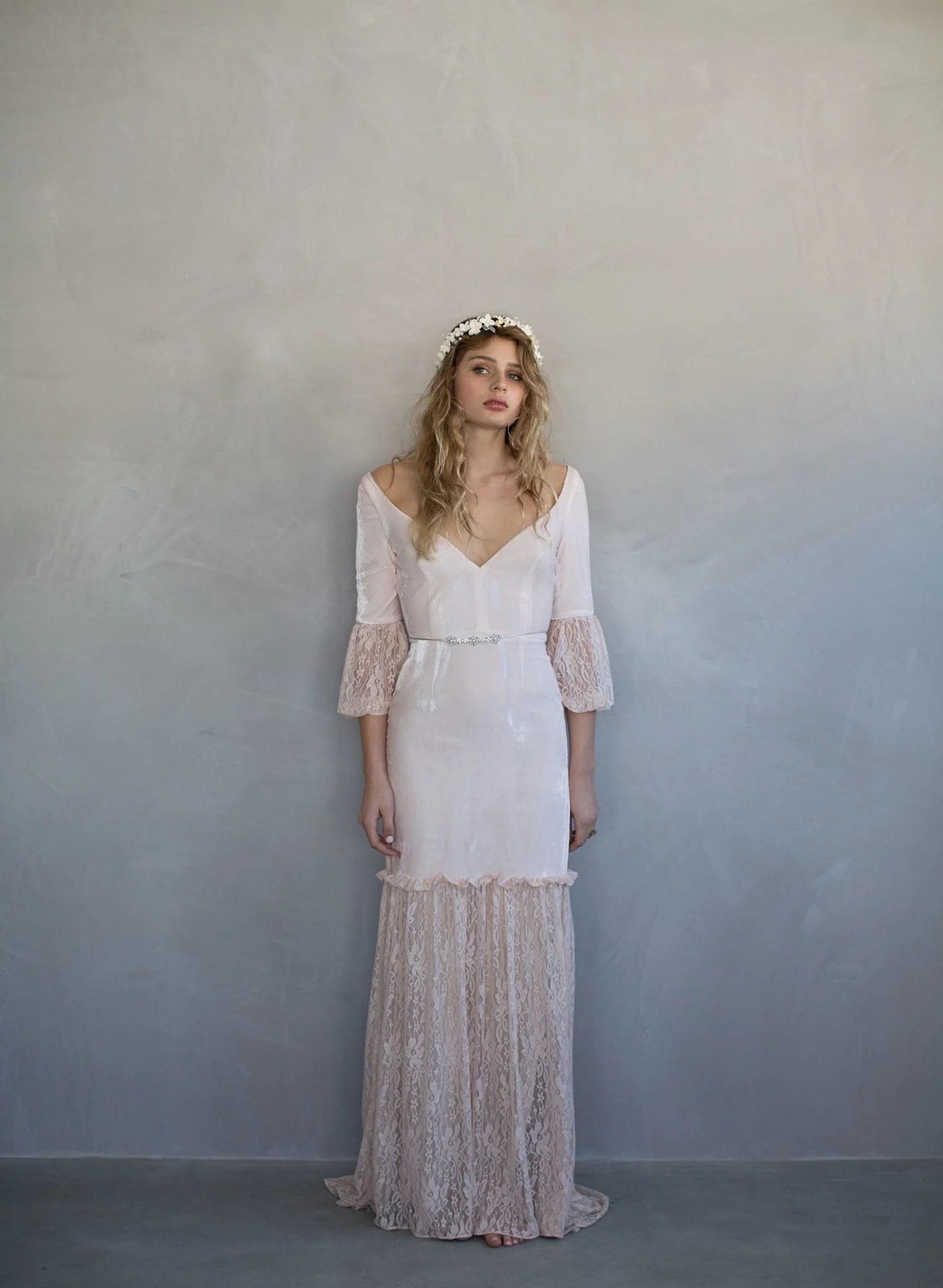 lolly velvet and lace gown style th velvet wedding dress Silk velvet bridal gown blush wedding dress twigs and honey vintage inspired