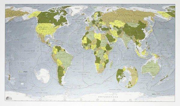 World Classic Map  Version 1  1300 x 720mm Laminated