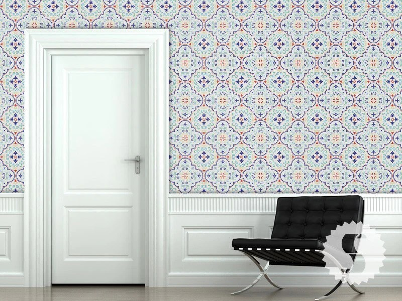 Wallpaper temporary removable wallpaper moroccan tiles red