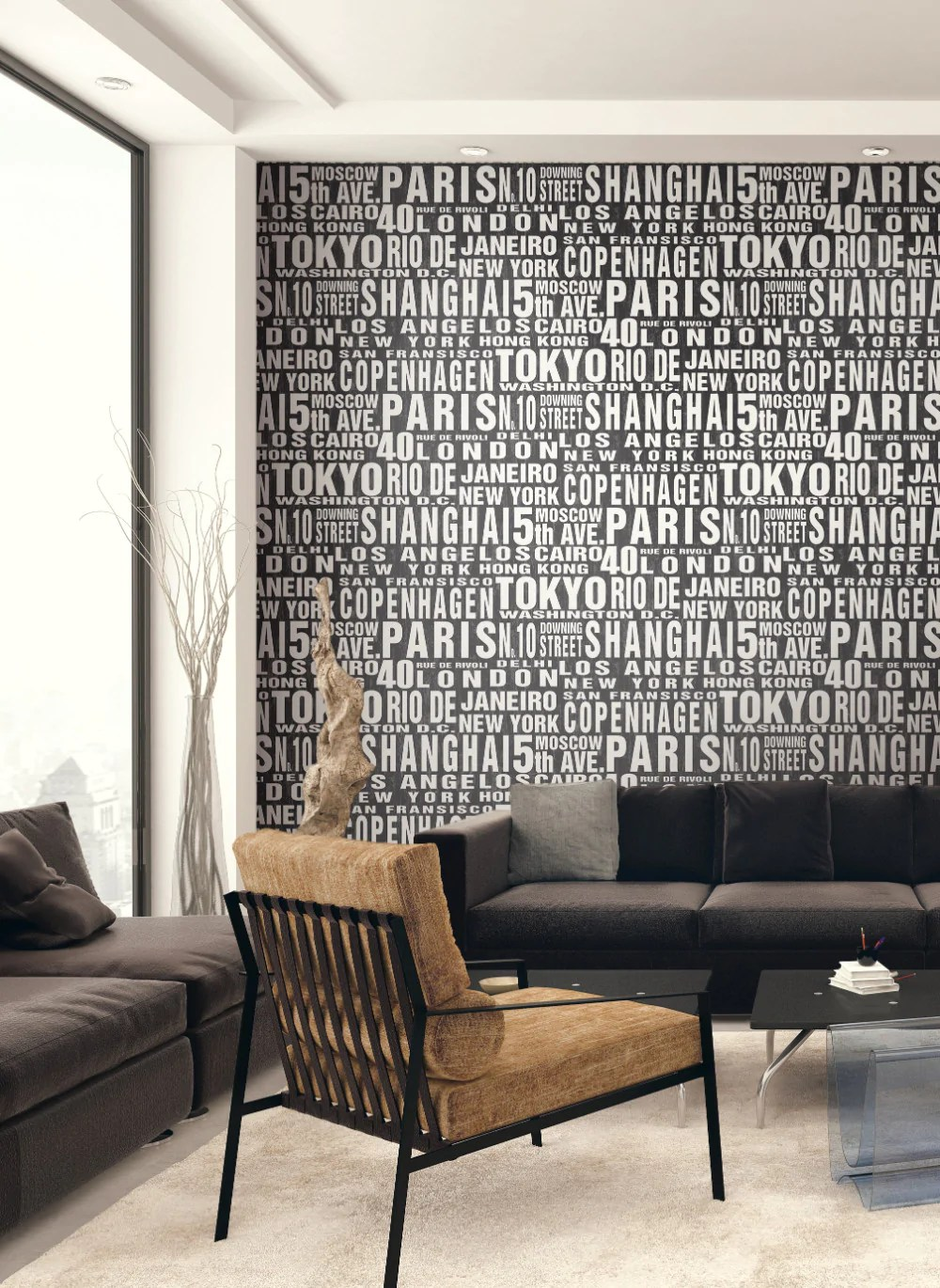 Around The World Peel-and-Stick Wallpaper in Black and White by NextWa – BURKE DECOR