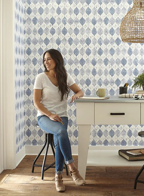 Woodblock Print Wallpaper in True Blue from Magnolia Home Vol. 2 by Jo – BURKE DECOR