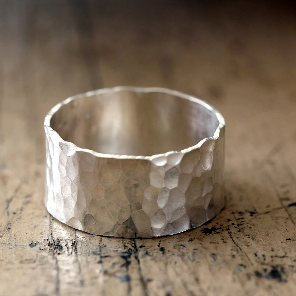hammered wide band wedding ring wide band wedding rings Hammered Wide Band Wedding Ring