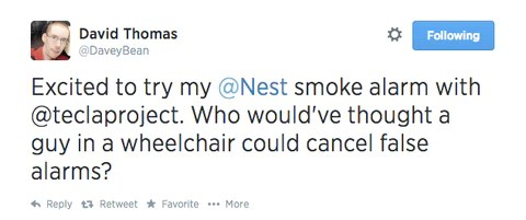 Tweet: Excited to try my @Nest smoke alarm with @teclaproject.