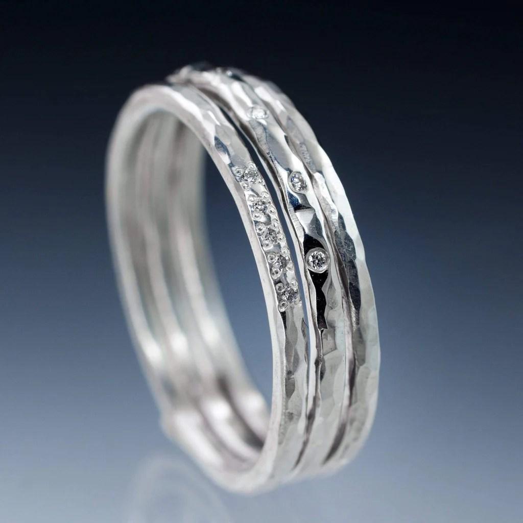 stacking diamond ring set skinny hammered texture wedding bands stackable wedding bands Stacking Diamond Ring Set Skinny Hammered Texture Wedding Bands by Nodeform