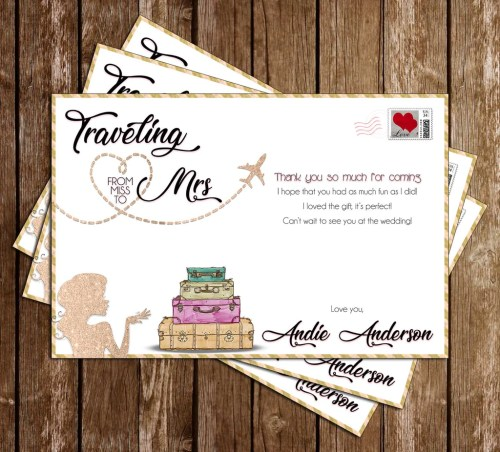 Piquant Miss To Mrs Traveling Bridal Shower Thank You Card Novel Concept Designs Miss To Mrs Traveling Bridal Shower Bridal Shower Thank You Cards Shutterfly Bridal Shower Thank You Cards Minted