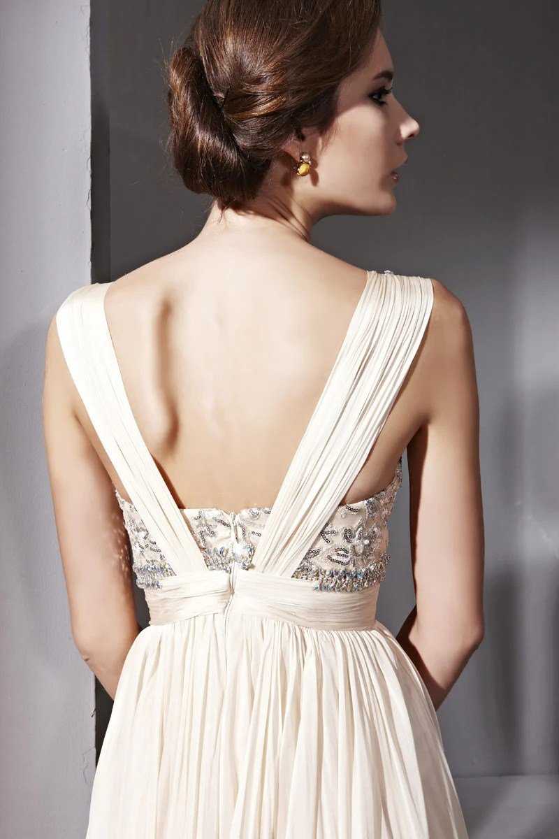 cream beige beige wedding dress Elliot Claire Sabrina in Jeweled V Neck Light Beige Wedding Dress