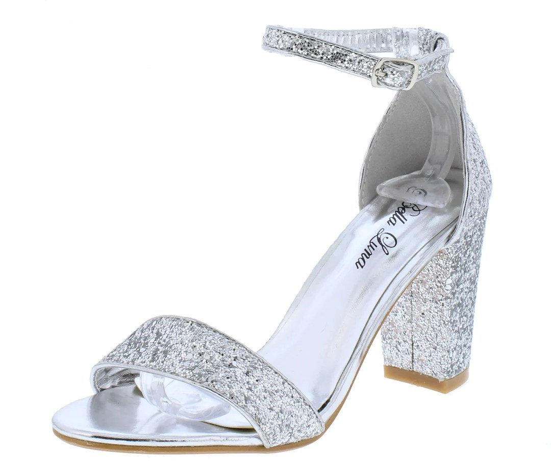 Staggering Silver Glitter Open Toe Ankle Strap Chunky Heel Wholesalefashion Shoes Silver Glitter Open Toe Ankle Strap Chunky Heels Silver Dress Shoes Bunions Silver Dress Shoes Wedge Heel wedding dress Silver Dress Shoes
