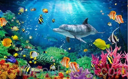 Dophin Coral Colorful Fish Under the Sea 00008 Floor Decals 3D Wallpap – IDecoRoom