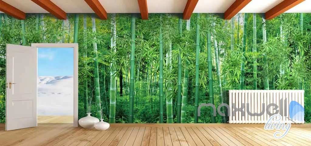 3D Large Bamboo Forest Ceiling Entire Living Room Wallpaper Wall Mural – IDecoRoom
