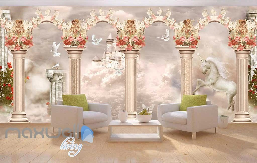 3D Little Angel Ceiling Pillar Wall Murals Wallpaper Decals Art Print – IDecoRoom