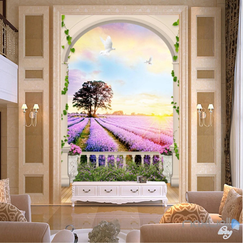 Famed Arch Lavender Field Tree Sunrise Entrance Wall Mural Wallpaper Decal Artprints Wall Murals Idecoroom 3d Wall Murals Forest 3d Wall Murals Uk houzz-03 3d Wall Murals