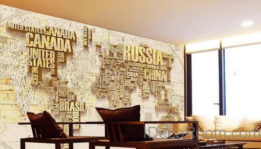 Abstract World Map Nation 3D Wallpaper Wall Decals Wall Art Print Mura – IDecoRoom