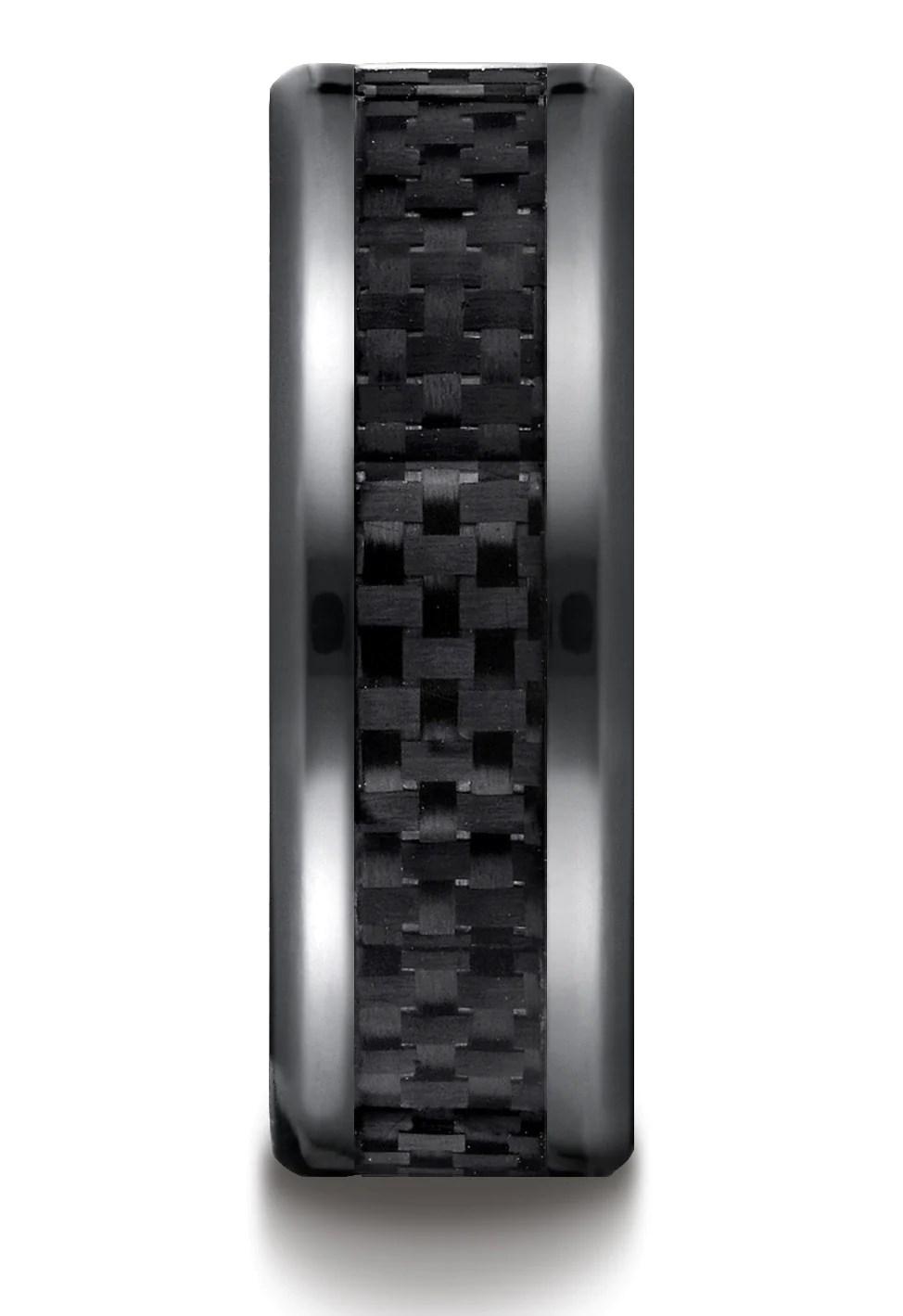 belem black titanium carbon fiber inlay wedding band for men by benchmark titanium wedding band BELEM Black Titanium Carbon Fiber Inlay Wedding Band for Men
