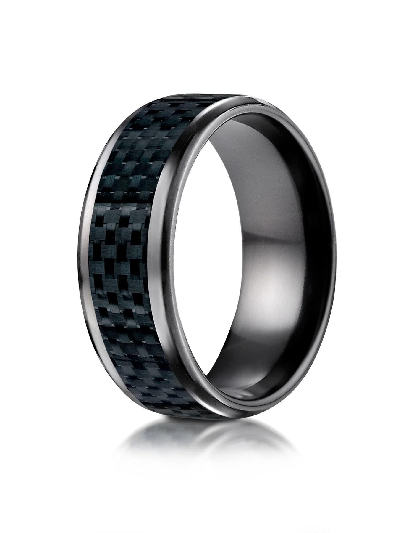belem black titanium carbon fiber inlay wedding band for men by benchmark carbon fiber wedding bands BELEM Black Titanium Carbon Fiber Inlay Wedding Band for Men