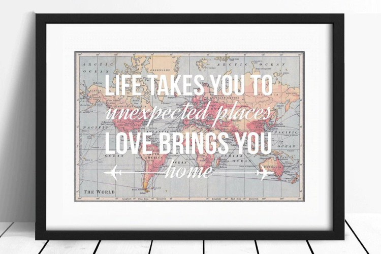 World Map Print with Love Quote | 15 Sentimental Wedding Gifts for the Couple