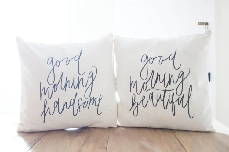 "His and Hers Pillow Cover Sets - ""Good Morning Gorgeous"" 
