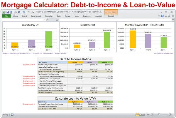 Mortgage Calculator with Taxes Insurance PMI HOA & Extra ...