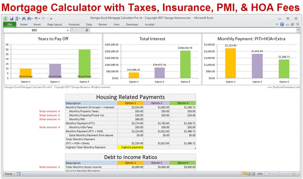 Mortgage Calculator with Taxes Insurance PMI HOA & Extra Payments – BuyExcelTemplates.com