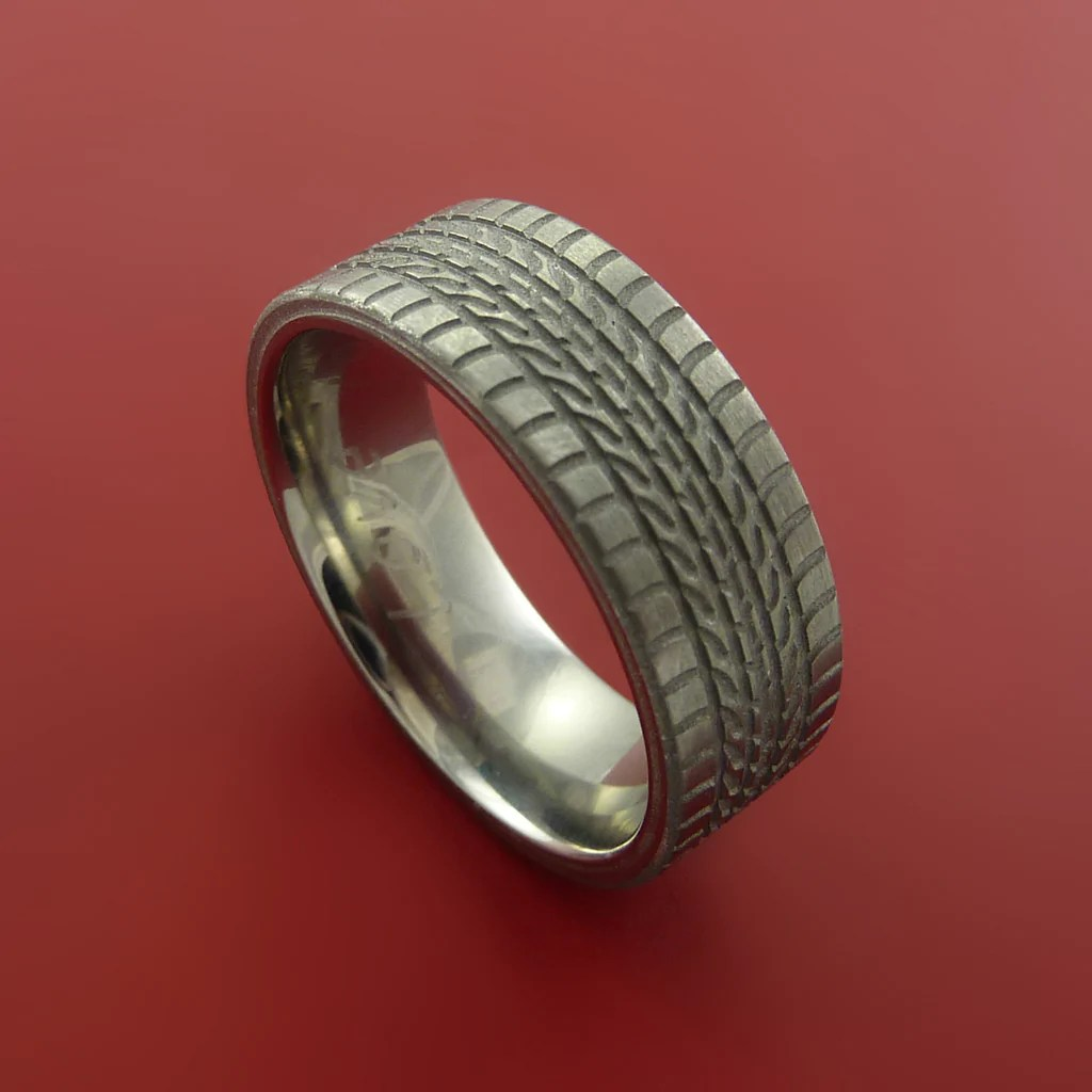 tread mud tire wedding rings Titanium Carved Tread Design Ring Bold Unique Band Custom Made to Any Sizing 4 22