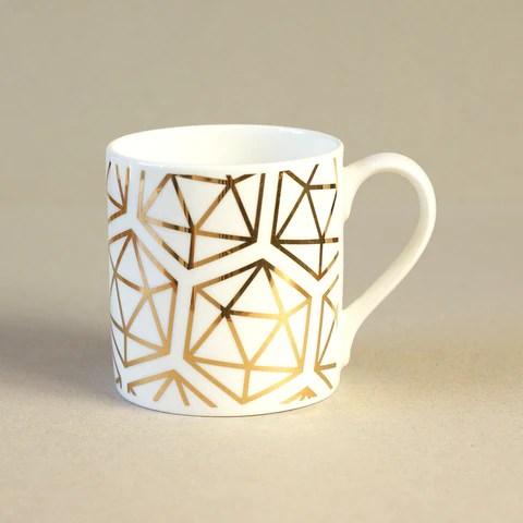 Gold icosahedron mug