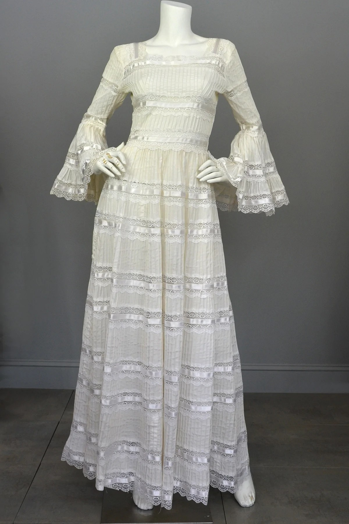 s vintage mexican wedding dress with bell sleeves and lace mexican wedding dress s Vintage Mexican Wedding Dress with Bell Sleeves and Lace