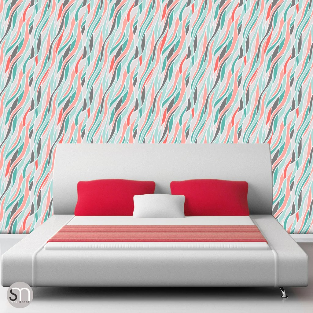 LOOSE ABSTRACT WAVES - Peel & Stick Wallpaper   GraphicsMesh