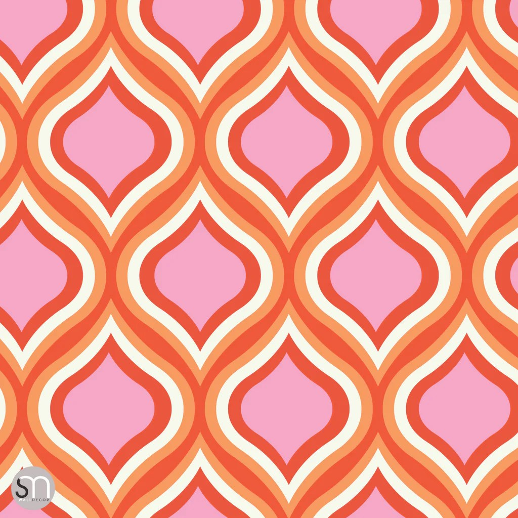 PINKS REDS RETRO - Peel & Stick Wallpaper | GraphicsMesh