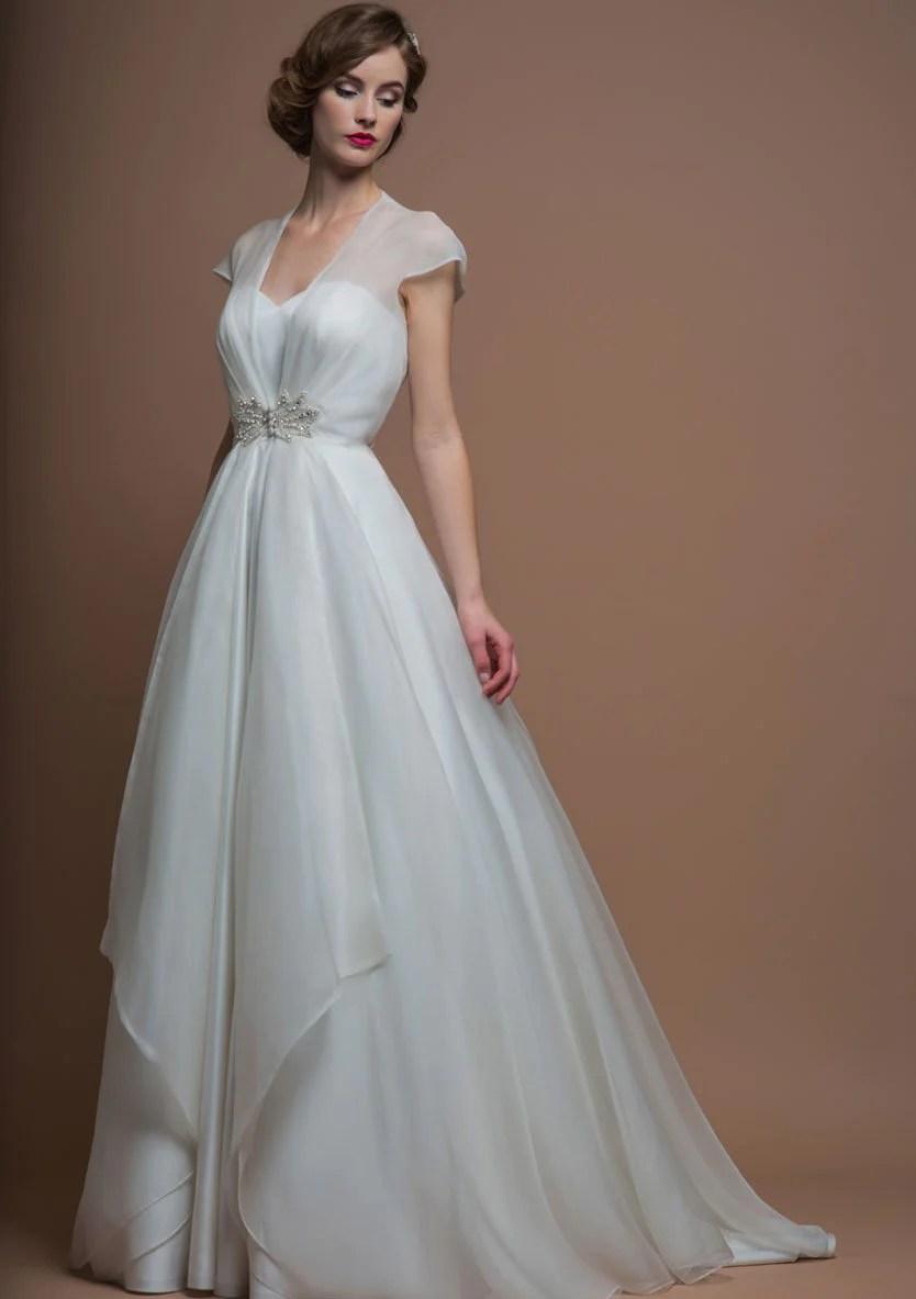 bridal wear page 3 50s wedding dress 86 darla Full length silk duchess satin dress and organza coat