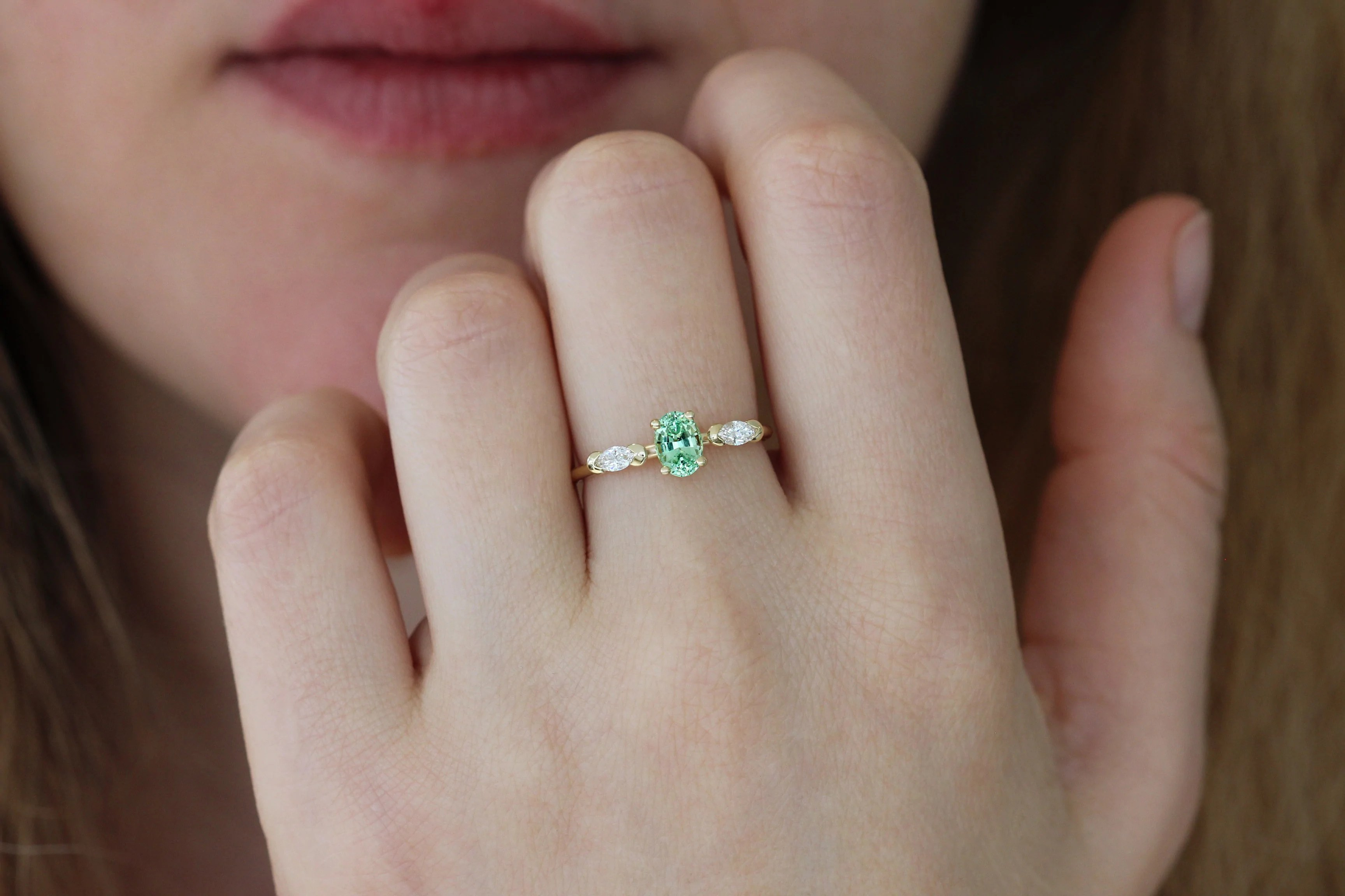 marquise diamond wedding set with mint garnet garnet wedding ring set mint garnet engagement ring on finger