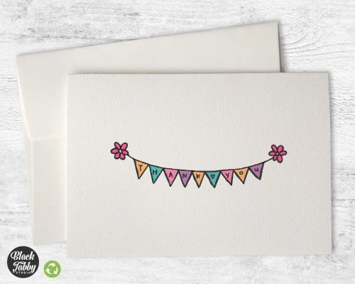 Dazzling Flowers Thank You Cards Black Tabby Studio Thank You Banner Templates Free Thank You Banner Party City Bunting Banner