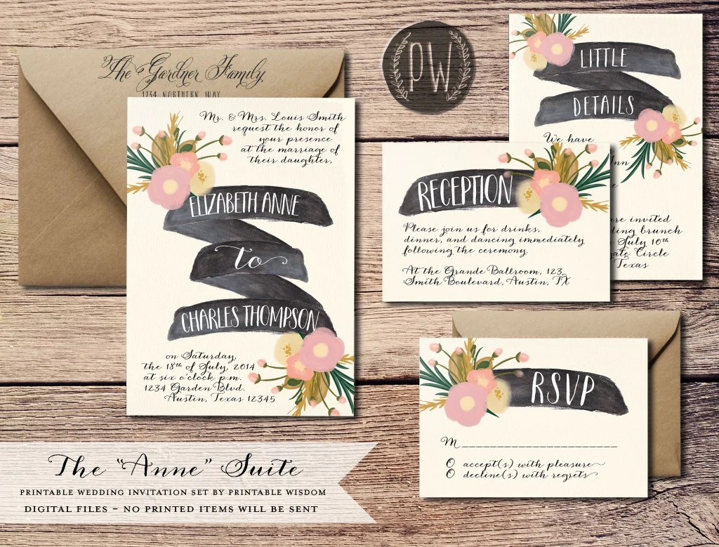 new wedding invitations wedding invitation suites Anne Wedding Suite by printablewisdomdesign com