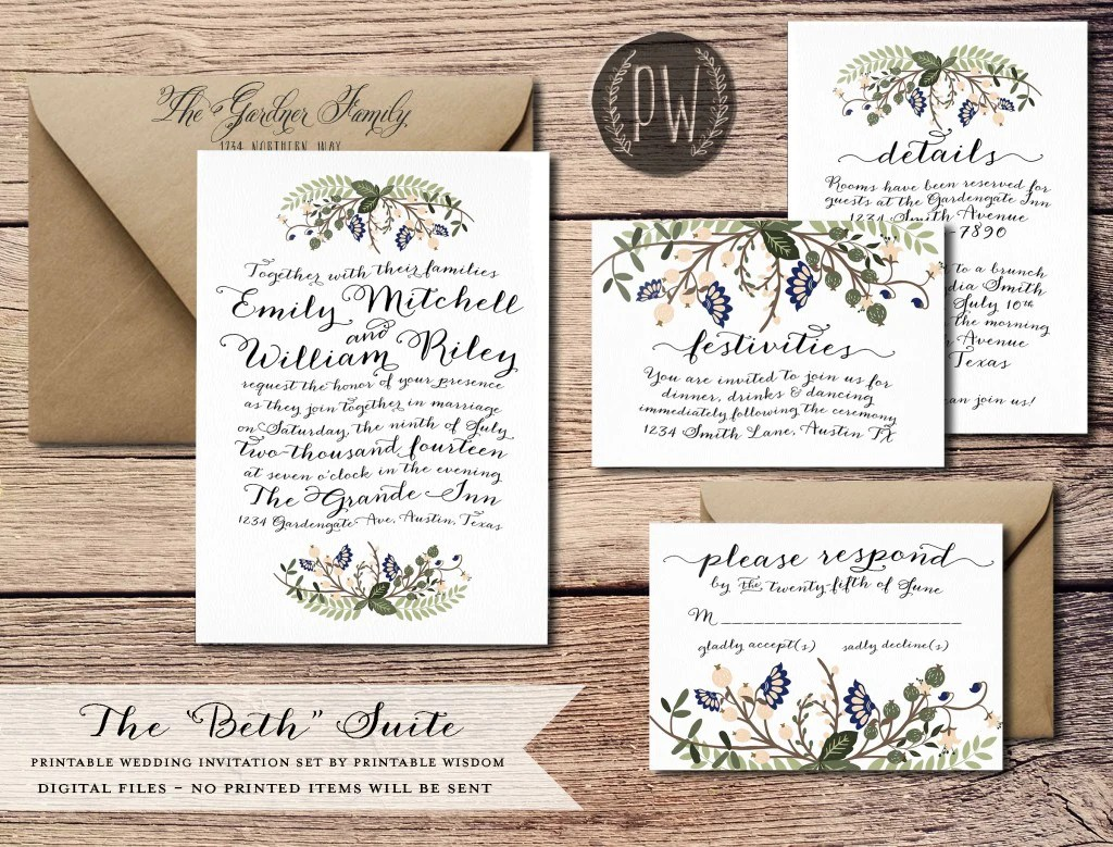 new wedding invitations wedding invitation suites The Josephine Collection from Printable Wisdom Design The Beth Suite from Printable Wisdom Design