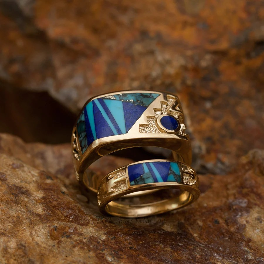 david rosales blue mountain couples ring set inlaid gold rings navajo wedding rings David Rosales Couples Set Blue Mountain Inlaid 14K Gold Rings