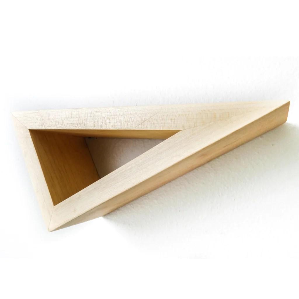 Plush Fernweh Woodworking Triangular Floating Maple Shelves Set Triangular Floating Maple Shelves Fernweh Woodworking Triangular Floating Shelf furniture Triangular Floating Shelves