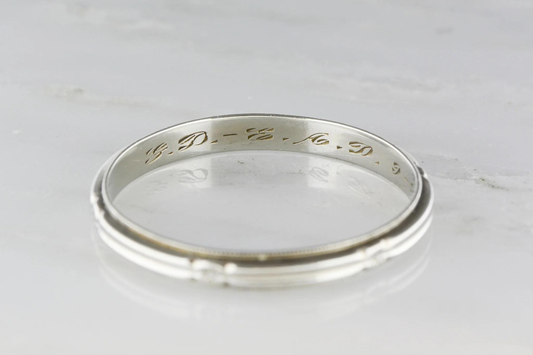 art deco band art deco wedding ring Antique Men s 14K White Gold Art Deco Wedding Band Engraved 9 24 34 TS