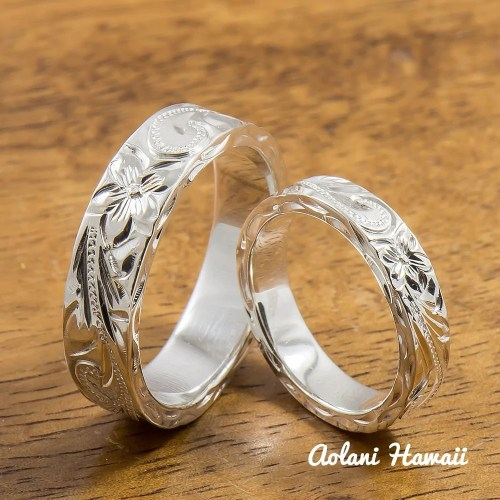 silver wedding ring set of traditional hawaiian hand engraved sterling silver flat rings 4mm 6mm width hawaiian wedding rings Silver Wedding Ring Set of Traditional Hawaiian Hand Engraved Sterling Silver Flat Rings 4mm 6mm width