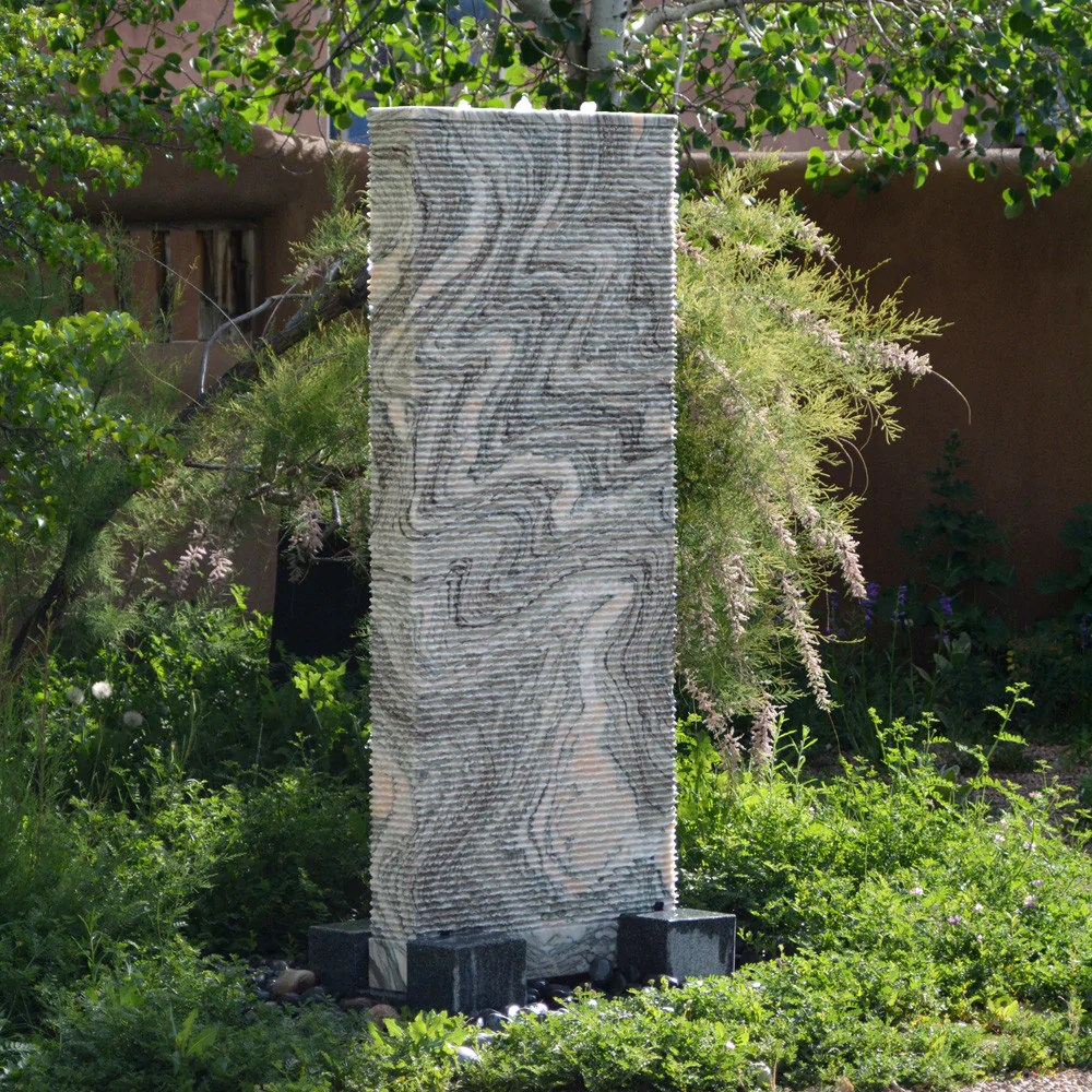 A Outdoor Fountain Solid Marble Ribbed Waterwall Fountain