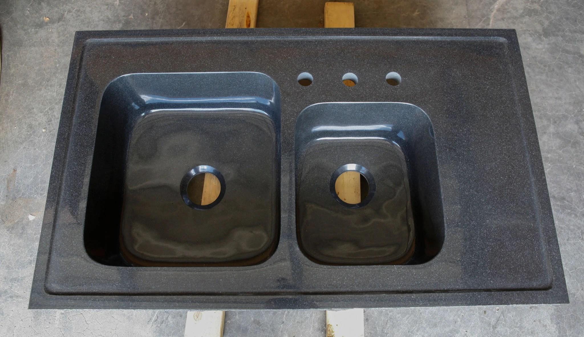 Stone Forest Seconds Custom Double Basin Kitchen Sink Black Granite1 f8d74a50 ae20 4c6b 8710 b2704780e801