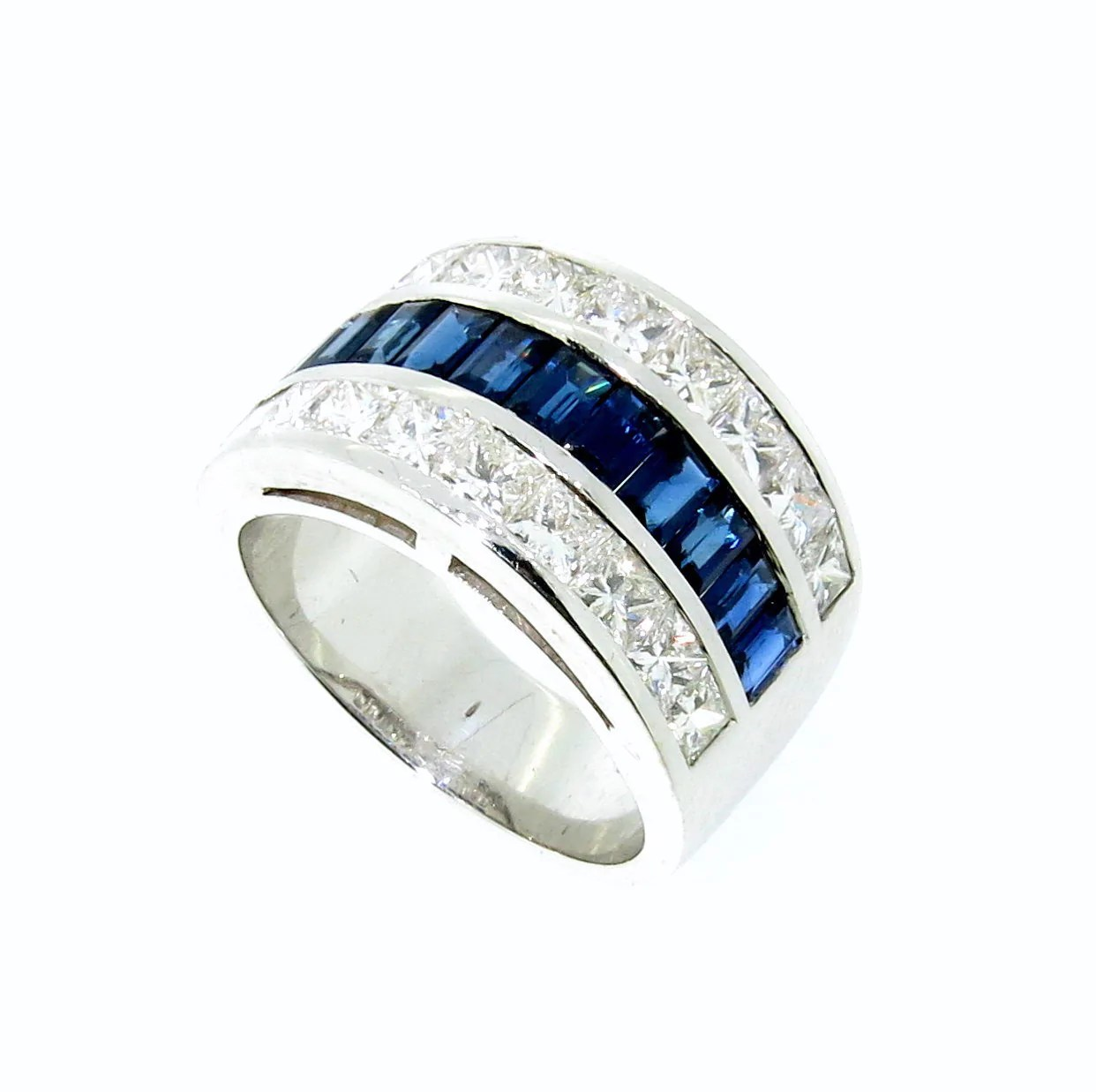 wide band blue sapphire gemstone diamond wedding engagement ring anniversary ring cocktail ring wide wedding bands Wide Band Blue Sapphire Gemstone Diamond Engagement Wedding Band Anniversary Ring Cocktail