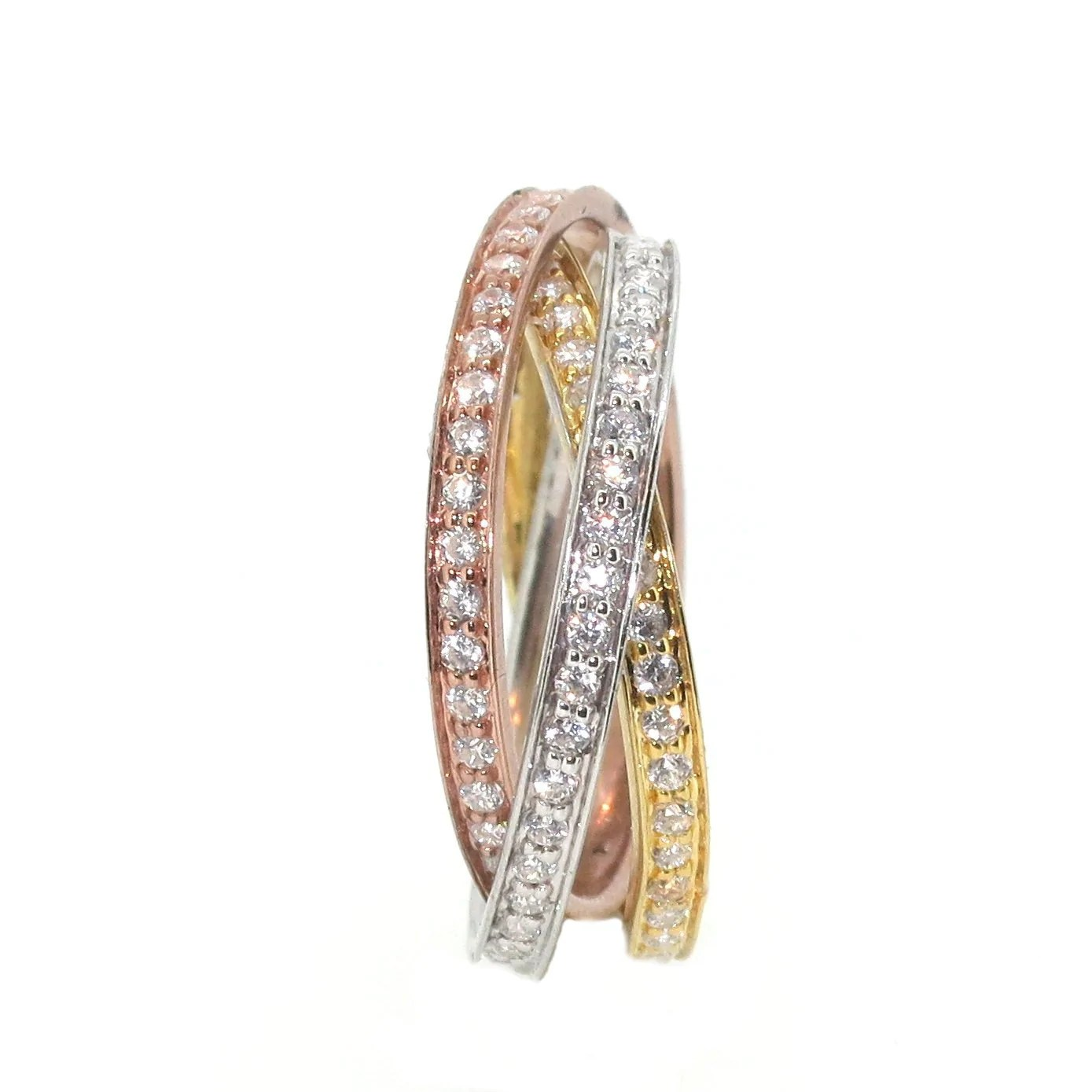 triple tone triple band intertwined eternity ring diamonds on rose gold yellow gold white gold wedding anniversary ring cocktail ring triple band wedding ring Triple Tone Triple Wedding Band Intertwined Eternity Ring Diamonds on Rose Gold Yellow