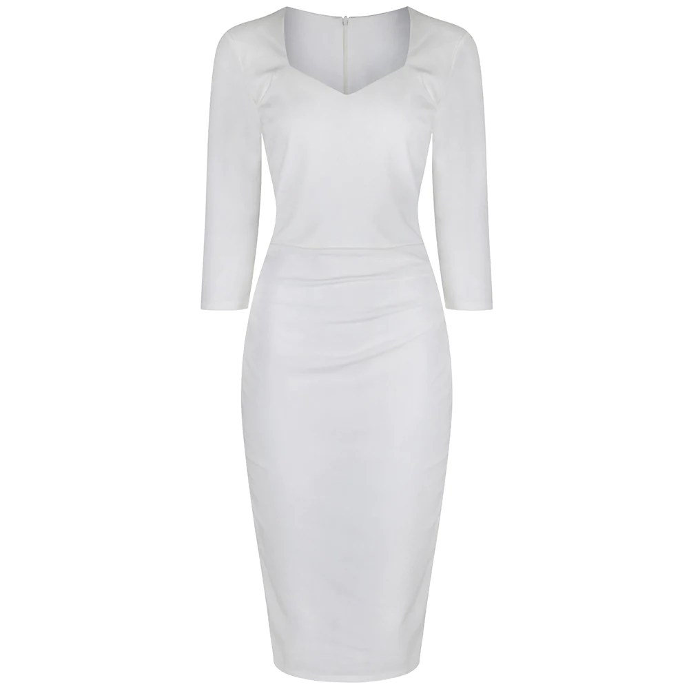 copy of red belted 3 4 sleeve pencil office dress bodycon wedding dress Ivory White 3 4 Sleeve Bodycon Pencil Wedding Dress Pretty Kitty Fashion