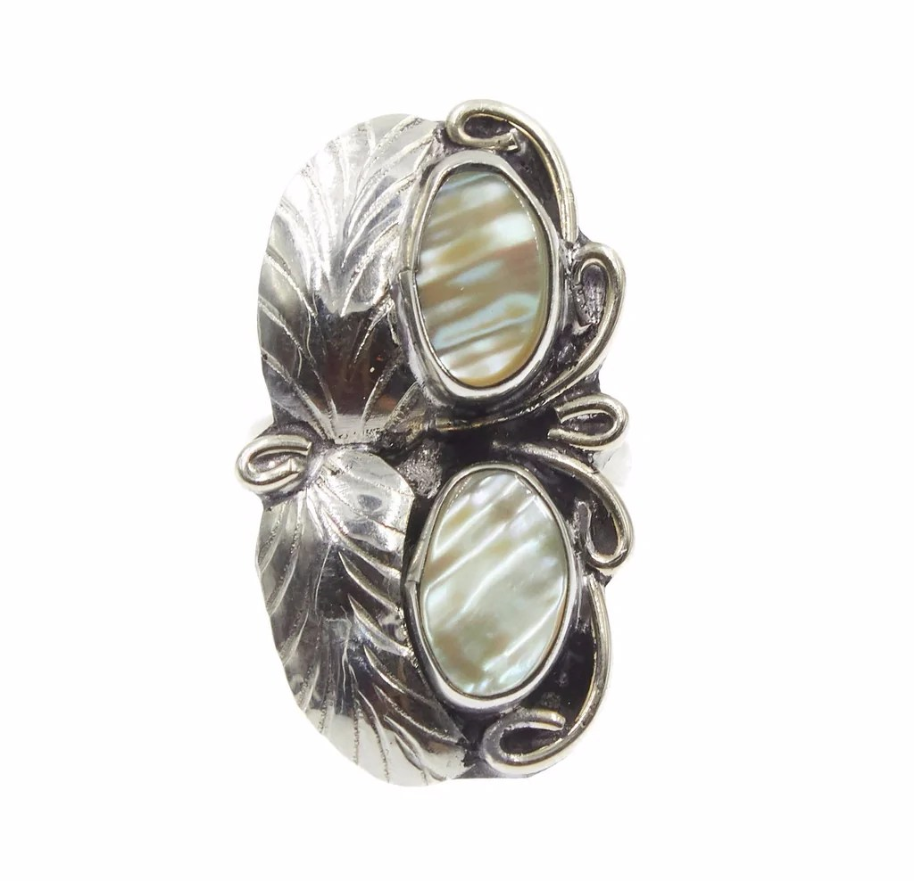 Creative Ring098 Abalone Two Raven 2 Leaf 2 Stone Ring 15 Front 25e94d70 E067 485f 9695 47754b400212 1024x1024 Two Stone Ring Implicit Two Stone Ring Kay wedding rings Two Stone Ring