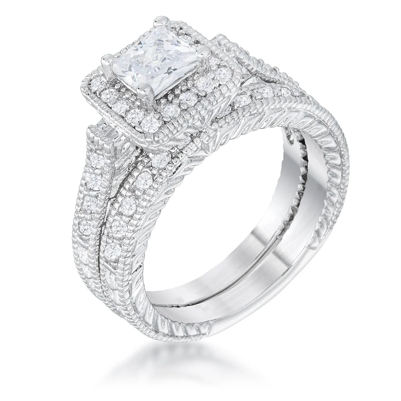 jewelry cushion sapphire cubic zirconia cz sterling silver 2pc bridal ring set r halo wedding ring sets Sterling Silver Cushion Simulated Blue Sapphire CZ Halo Ring Set 0 CTW