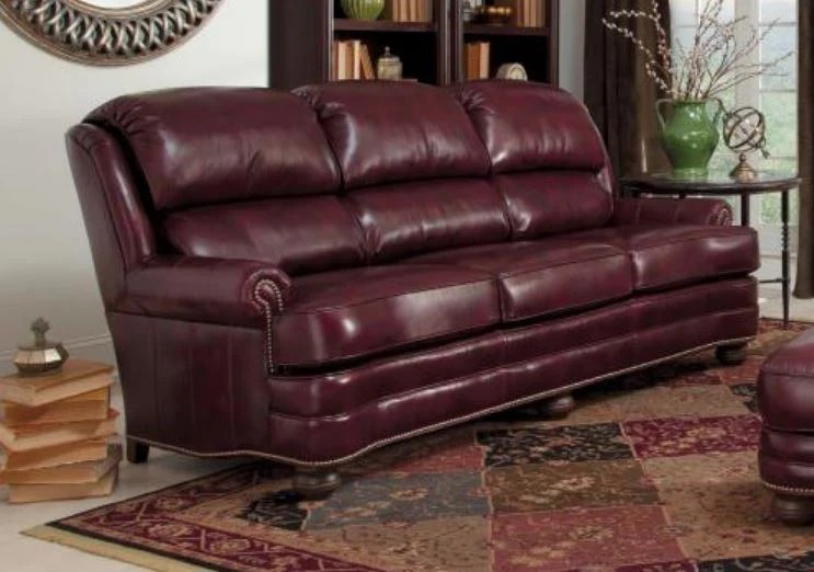 Leather Sofa In 2911 Grd 2 Cherry Finish Antique Brass Nails Antique Leather Sofa44