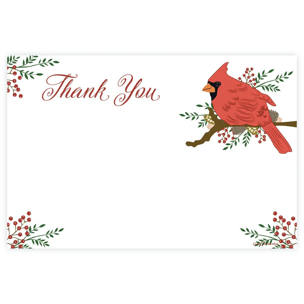 Tempting Hill Thank You Flyers Thank You Cards Thank You Cards Cardinal Holiday Thank You Note Cards Madison inspiration Christmas Thank You