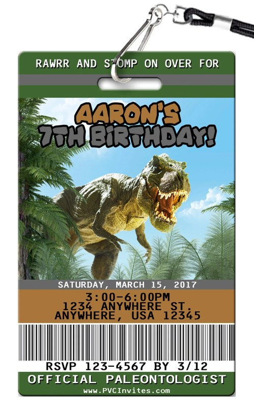Medium Of Dinosaur Birthday Invitations